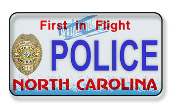 North Carolina License Plate First in Flight Magnet - Police-PACKAGE OF 4