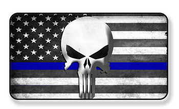 Thin Blue Line Punisher Subdued American Flag Magnet - PACKAGE OF 4