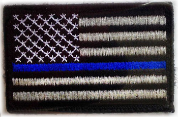 Thin Blue Line American Flag Embroidered Velcro Patch - PACKAGE OF 4