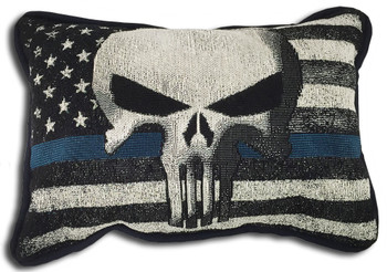 Punisher Thin Blue Line American Flag Pillow