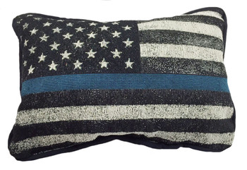 Thin Blue Line American Flag Pillow - Law Enforcement