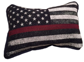 Firefighter thin red line American flag pillow