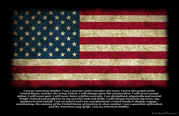 Army Soldier's Oath Distressed American Flag Poster