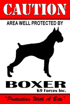 Protected By Boxer K9 Forces 8x12 Metal Sign