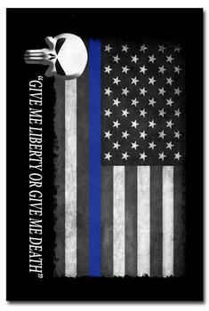 Thin Blue Line American Flag Punisher 8x12 Metal Sign