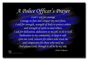 A Police Officer's Prayer Black and Blue 8x12 Decorative Metal Sign