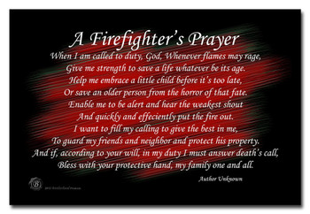 A Firefighter's Prayer Black and Red 8x12 Metal Sign