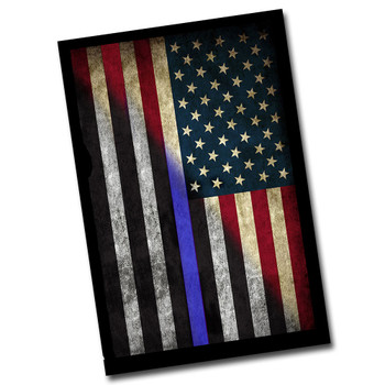 Red White & Blue Distressed American Flag With Thin Blue Line