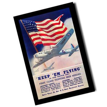 """Vintage Keep Em Flying U.S. Army Sign 8"""" x 12"""" Sign"""