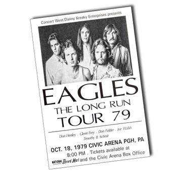 """Eagles The Long Run Tour 79 Ticket 8"""" x 12"""" Sign"""