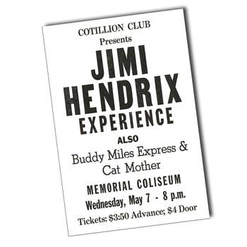 """Jimi Hendrix Cotillion Club 8"""" x 12"""" Sign"""