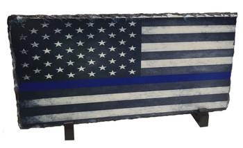 Thin Blue Line American Flag Slate Photo Rock