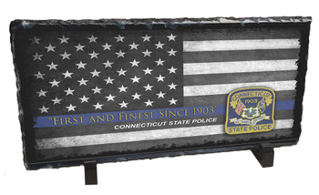 Connecticut's State Police Blue Line Flag & Patch Slate Photo Rock