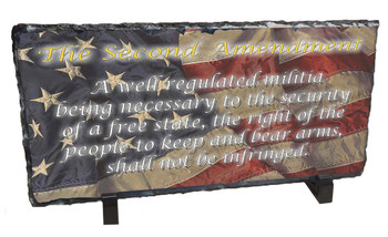 Second Amendment Distressed Photo Slate Rock