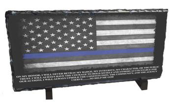 Blue Line Flag & Officer's Oath Slate Photo Rock