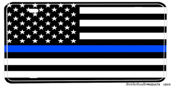 Black and White Thin Blue Line American Flag Vanity License Plate