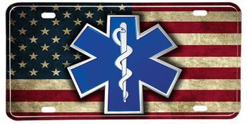 American Flag EMS Star of Life Vanity Plate