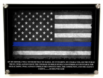 Standoff Aluminum Wall Decor. Thin Blue Line Subdued American Flag With Police Officer's Oath Front View