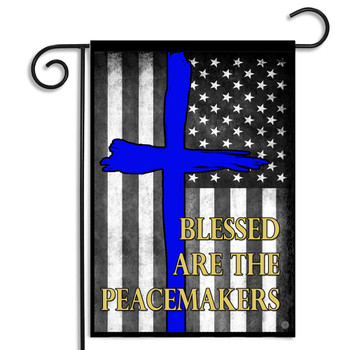 Thin Blue Line Blessed Are The Peacemakers Subdued American Garden Flag