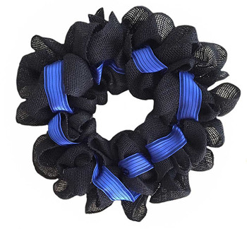 Thin Blue Line Burlap Door Wreath For Law Enforcement Support