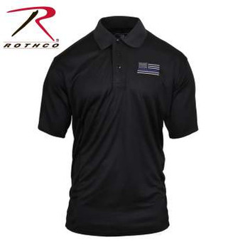 Stay cool and dry on the job while supporting your local Police and Law Enforcement Officials in Rothco's Thin Blue Line Moisture Wicking Polo. Constructed of a moisture wicking polyester material, the polo shirt will keep the body dry and comfortable in the most heated situations. The moisture wicking polo is a full-size cut with a classic 3 button front with the Thin Blue Line Flag embroidered on the left chest.