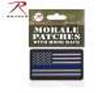 PVC Thin Blue Line Flag Patch - Hook Back