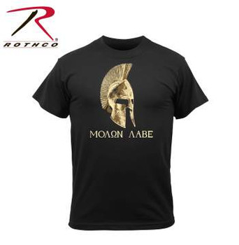 """Molon Labe"" t-shirt is designed with the iconic saying and imagery on the front of the shirt. Molon Labe translates to ""come and take"", a classical expression of defiance reportedly spoken by King Leonidas I in response to the Persian army's demand that the Greeks surrender their weapons at the Battle of Thermopylae."
