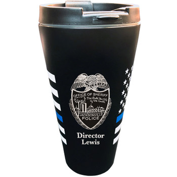 Thin Blue Line US Flag Travel Mug