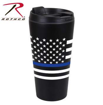 "Show your support for the men and women in blue with Rothco's Thin Blue Line Flag Travel Mug. The Thin Blue Line Shows Respect And Support For Police And Law Enforcement Officials. Thin Blue Line US Flag Travel Mug Holds 16 Fluid Ounces Double Walled, Stainless Steel Insulation US Flag With Thin Blue Line Printed On Front Screw Off Cap With Flip Top For Drinking Measures 6.75"" Height By 3.5"" Diameter At Widest Point Proceeds From This Purchase Benefit Families Of Fallen First Responders"