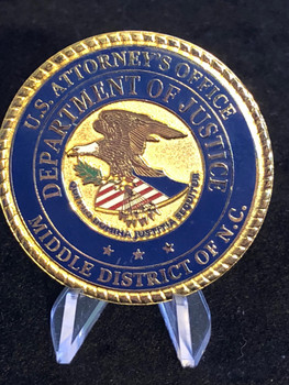 US ATTORNEY MIDDLE NC CHALLENGE COIN HUGE 2 INCH COIN