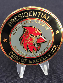 This awesome coin was made for NC GANG ASSOC. COIN HUGE LAST IN STOCK RARE!  It's HUGE at 2.0 inches and the collectible you want to add to your collection.  One one left...