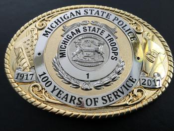 MICHIGAN STATE POLICE 100TH ANNIVERSARY BUCKLE RARE