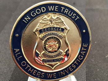 IN GOD WE TRUST•ALL OTHERS WE INVESTIGATE GA GBI & CORRECTION SPECIAL AGT SCHOOL COIN