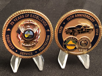 FLORIDA HIGHWAY PATROL 75TH CAPTAIN CHALLENGE COIN RARE