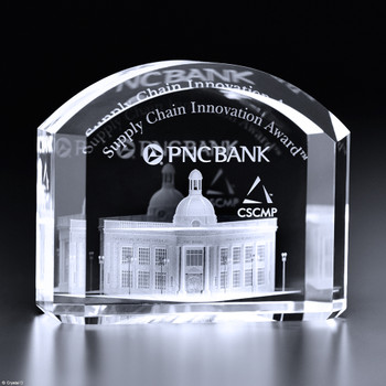 The smooth arch of the Mercer Award shows the magnificence of this award. Use this design to commend the launch of a new bank branch, teacher of the year, or a retiree. Combine imprint processes to enhance this already elegant accolade.