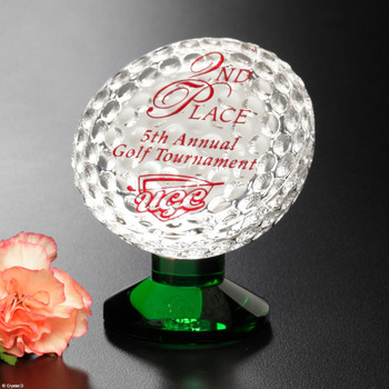 Your top golfers deserve the Fairway Award, a brilliant crystal golf ball on a stunning green base. Every time they see this award, they will be reminded of that perfect tee off!