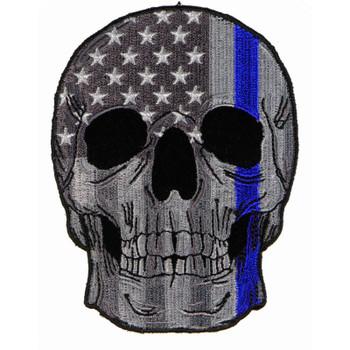Police Skull Blue line US Flag Patch