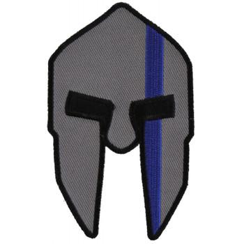 Spartan Helmet Blue Line Police Patch