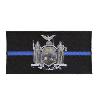 Thin Blue Line New York State Flag Patch For Law Enforcement