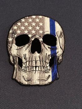 Police Skull Blue line US Flag Patch PADFOLIO