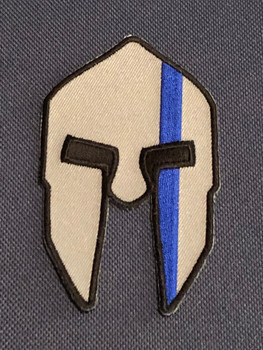 Spartan Helmet Blue Line Police Patch PADFOLIO