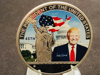 PRESIDENT TRUMP COIN  USA FLAG LIBERTY SILVER