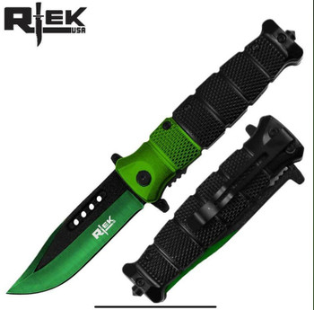 "GREEN/BLACK HANDLE & BLADE 4.5"" ASSIST-OPEN RESCUE KNIFE"