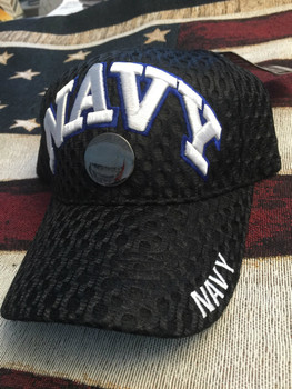 NAVY WITH HAT PIN AND WORDING BLACK HAT