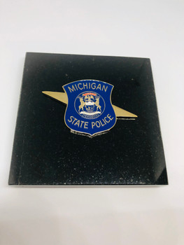 MICHIGAN STATE POLICE PAPERWEIGHT PAPERWEIGHT RARE LAST ONE