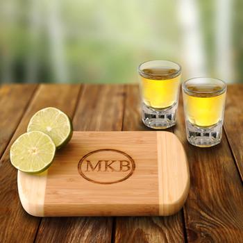 Bamboo Bar Board w/ two Distinction Shots
