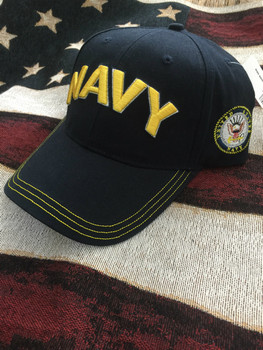 NAVY LETTERS IN GOLD & SEAL ON SIDE HAT