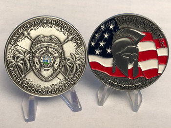 MIAMI DADE POLICE SURVIVING VIOLENT ENCOUNTERS CHALLENGE COIN HUGE 2 INCH COIN