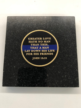 GREATER LOVE COIN PAPERWEIGHT OF DISTINCTION  GRANITE