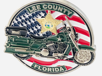 LEE CTY SHERIFF MOTOR COIN AWESOME DESIGN 3-D STAR & BIKE!